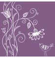 Doodle flowers with swirls and bird vector
