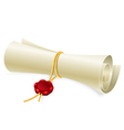 Scroll paper with seal of sealing wax vector