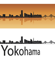 Yokohama skyline in orange background vector