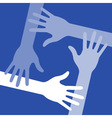 Blue four hands icon for your design vector