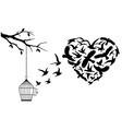 Flying birds heart vector