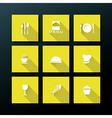 Flat restaurant icon set vector