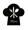 Chef hat with fork knife and spoon - menu concept vector