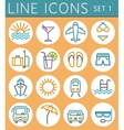 Travel line icons set web design elements vector