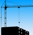 Silhouette of one cranes working on the building o vector