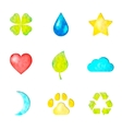 Set of nature symbols icons vector