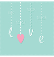 Hanging rain button drops dash line love card flat vector