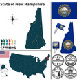 Map of new hampshire vector