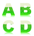 Alphabet green beer abcd vector