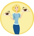 Girl waitress carrying a tray with cups of coffee vector