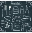 Chalkboard cosmetic bottles set 3 vector