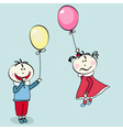 Little girl flying with the balloon vector