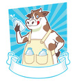 Cow holding a bottle of milk vector