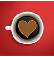 Valentines heart in coffee cup vector
