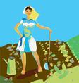 Woman gardening vector