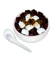 Delicious black grass jelly in a bowl vector