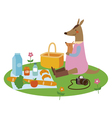 Kangaroo mother with baby on picnic vector