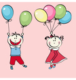 Happy little boy girl flying with the balloons vector