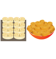 Pastry on a baking sheet and on plate vector