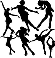 Figure ice skating silhouettes set vector