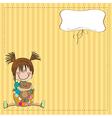 Little girl sitting with her teddy bear vector