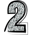 Diamond font number 2 vector