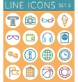 Travel line icons set web design elements vector
