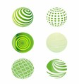 Set of green globes vector