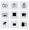 Black photo icons set vector