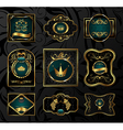Set black gold-framed labels - vector