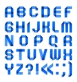 Alphabet folded of colored paper - blue letters vector