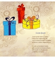 Holiday card with three gift boxes vector