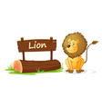 Cartoon zoo lion sign vector