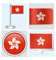Hong kong flag - sticker button label flagstaff vector