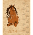 Calendar 2014 horse sketch on grunge paper vector