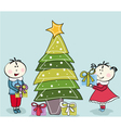 Little girl little boy and christmas tree vector
