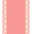 Pink background with two vertical lacy stripes vector