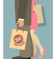 People with shopping bags vector
