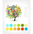 Calendar 2014 with four season tree for your vector