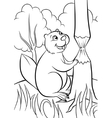 Happy beaver in the forest vector