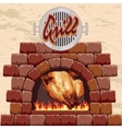 Grilled chicken in the fireplace vector