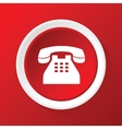 Old phone icon on red vector