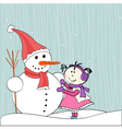 Christmas winter snowman and little girl vector