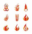 Set of fire icons elements vector