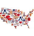 4th of july celebration flag with barbecue icons vector