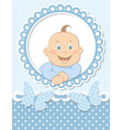 Happy baby boy scrapbook blue frame vector