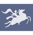 White silhouette of fantasy horse rider on purple vector