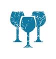Grunge wine glass icon vector