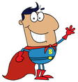 Hispanic cartoon super hero waving man vector