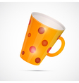 Yellow cup with red dots isolated on white vector